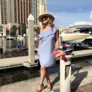 Dresses - NWOT blue and white striped ruffle sleeve dress!